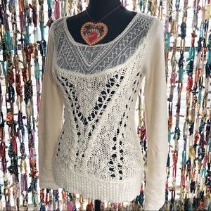 Free People Crochet Knit Sweater with Lace Trim